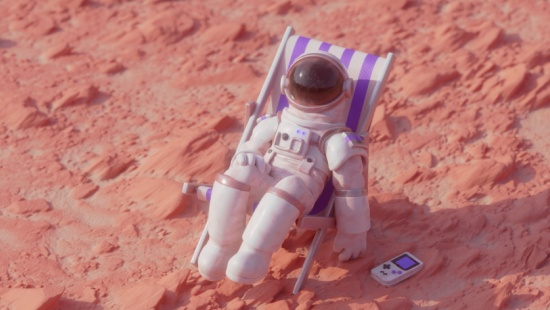 3D render of an astronaut relaxing on the planet Mars