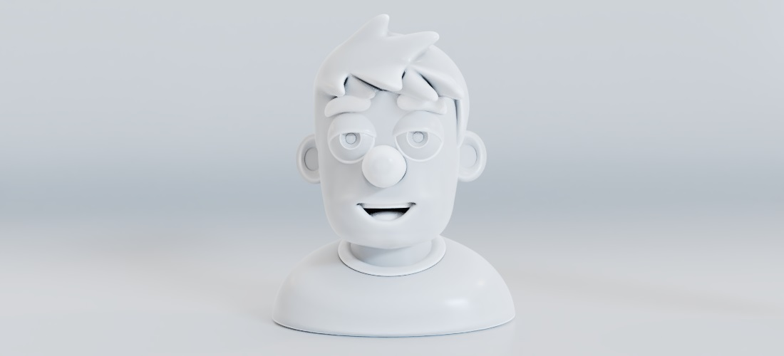 Clay render of the man bust