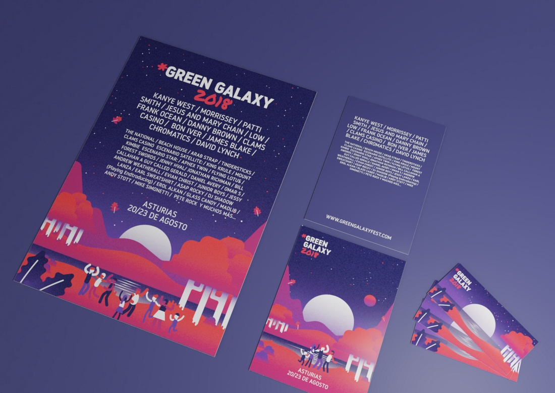 Applications of the illustrations and the Green Galaxy Fest brand